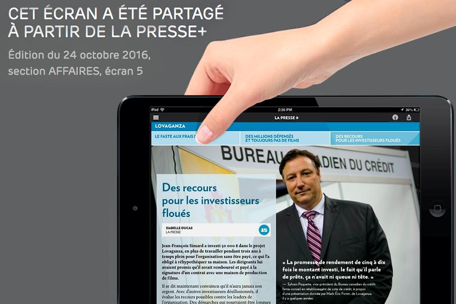La Presse Plus Article : Dossier Lovaganza